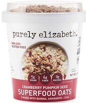 Purely Elizabeth Cranberry Pumpkin Seed Superfood oat cups with granola topper